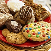 Variety of Cookies on a Red Plate