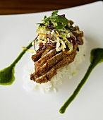 Sliced Panko Chicken Topped with Cabbage Salad on Rice