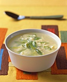 Bowl of Chicken and Scallion Soup