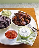 Appetizer Platter; Blue Corn Chips with Assorted Dips; Barbecue Chicken Wings
