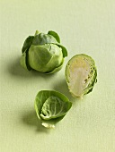 Whole, Half and Leaf of a Brussels Sprout