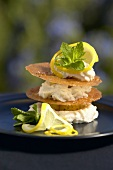 Cheesecake Wafers with Lemon Garnish