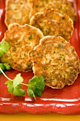 Corn Fritters with Parsley Garnish; Close Up
