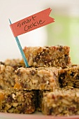 Oat Bars Stacked on a Plate with Smart Cookie Tag
