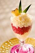 Layered Pineapple Cranberry Granita in a Glass Dish
