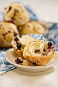 Blueberry Muffin Halved with Butter; Muffins