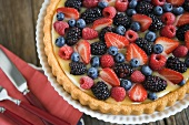 Mixed Berry Fruit Tart; From Above