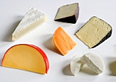 Six Different Soft and Semi-Hard Cheeses