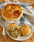 Chunky Tomato Soup with a Pastry Topping; Broccoli and Cheddar Filled Pastries