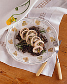 Prosciutto and Leek Rolled Chicken Sliced Over Wild Rice
