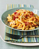 Bowl of Macaroni with Cheese, Pepperoni and Peppers