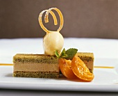 Apricot Cake with Ice Cream