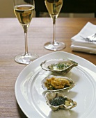 Oysters Three Ways; With Chives, Fried and With Caviar; Champagne