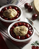 Two Cherry Cobblers in Individual Red & White Ramekins