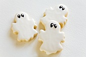 Three ghost biscuits for Halloween