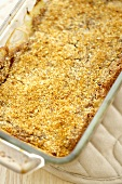 Apple Crisp in Baking Dish, From Above