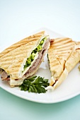 Toasted Ham and Cheese Panini with Scallions
