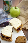 Brown Bag Lunch, Peanut Butter and Jelly Sandwich, Cookie and Apple