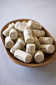 Wooden Dish of Wine Corks
