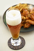 Glass of Amber Beer, Buffalo Wings