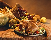 Thanksgiving Turkey on a Platter with Fruit, Cornucopia