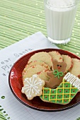 Assorted Christmas Cookies on a Plate on a Letter to Santa, Glass o d Milk