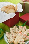 Assorted Christmas Cookies, On a Plate and In a Box