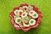 Bowl of Christmas Press Cookies on Green Table Cloth