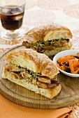 Chicken Sandwich with Sprouts on Croissant, Carrot & Raisin Salad