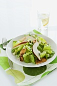 Chicken and Pear Salad with Blue Cheese, Glass of Water with Lemon