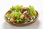 Chicken Salad with Bacon, Blue Cheese and Croutons in a Bowl