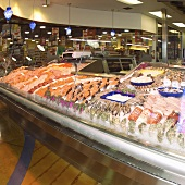 Seafood Display Case in a Grocery Store