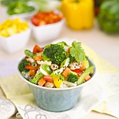 Stir Fried Vegetables Over Rice in a Bowl