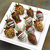 Assorted Chocolate Covered Strawberries, White, Dark and Milk Chocolate, Nuts and Coconut