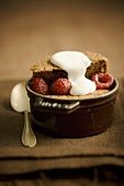 Chocolate Dessert with Raspberries and Cream