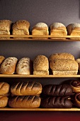 Many Assorted Loaves of Bread on Wooden Racks