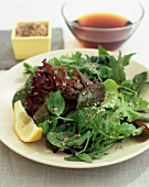 Mixed Green Salad with Sesame Seeds and Squeezed Lemon Wedge