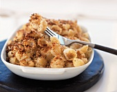 Baked Macaroni Cheese with Bread Crumb Topping; Fork