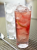 Vodka and cranberry with ice cubes in a tall glass