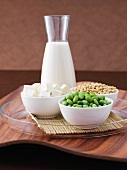 Tofu, edamame (young soya beans), soya beans, soya milk
