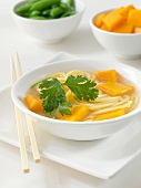 Light miso soup with soba noodles and pumpkin