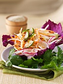 Carrot, radish & cucumber salad in a red cabbage leaf