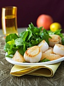 Fried scallops with grapefruit and salad