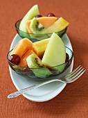 Fruit salad in two glass dishes
