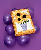 Sunflower Cake on Purple Balloons on a Purple Background