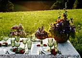 Table Set with Green Glassware, Pastries and Flowers (Austria)