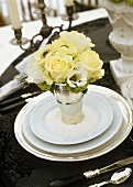 White Floral Bouquet at an Elegant Place Setting (San Moritz, Switzerland)