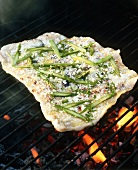 Asparagus and Cheese Pizza on the Grill