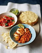 Indian Chicken Curry with Lentil Dahl and Poppadums