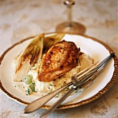 Chicken Breast Over Mashes Potatoes with Grilled Endive